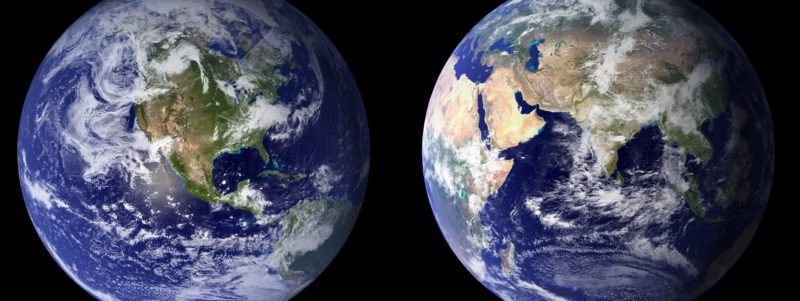 Photos from space of two sides of Earth