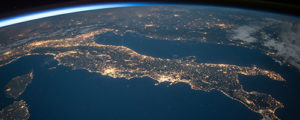 Photo of Italy from space lit up by electricity