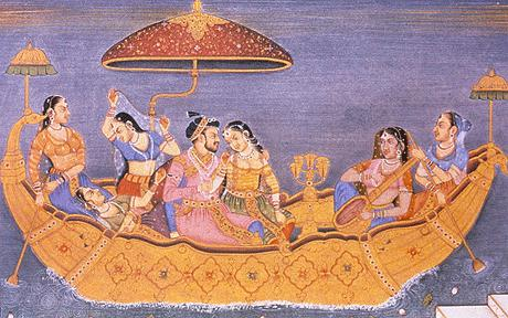 Classical painting of five Indian women with a man enjoying themselves on a boat