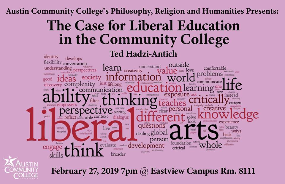 Information about the event with a word cloud about the liberal arts