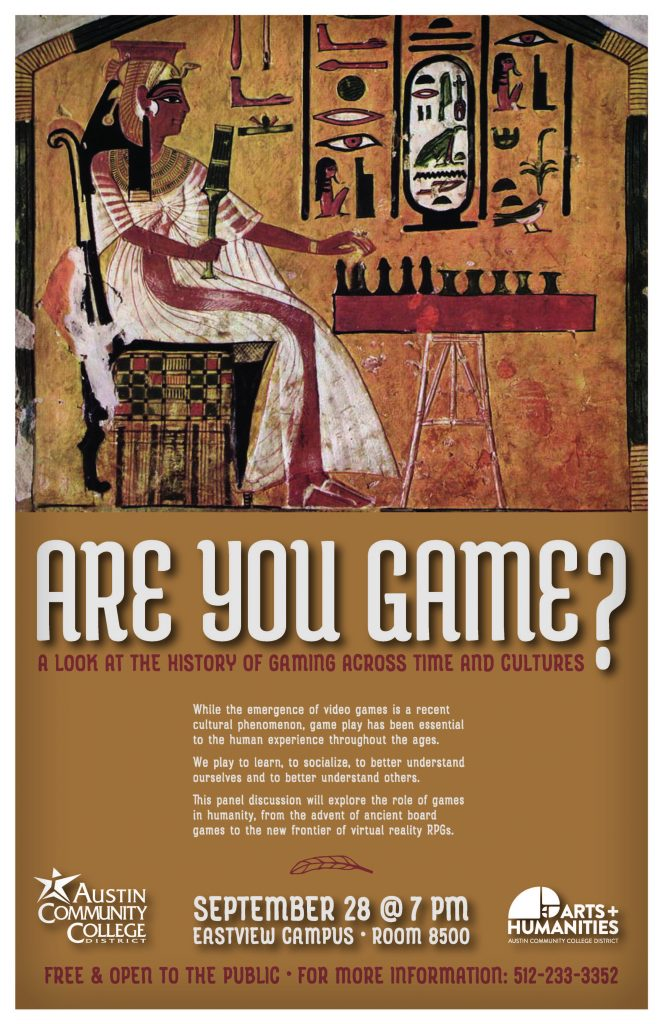 Image of an ancient Egyptian painting of the game senet, information about the event