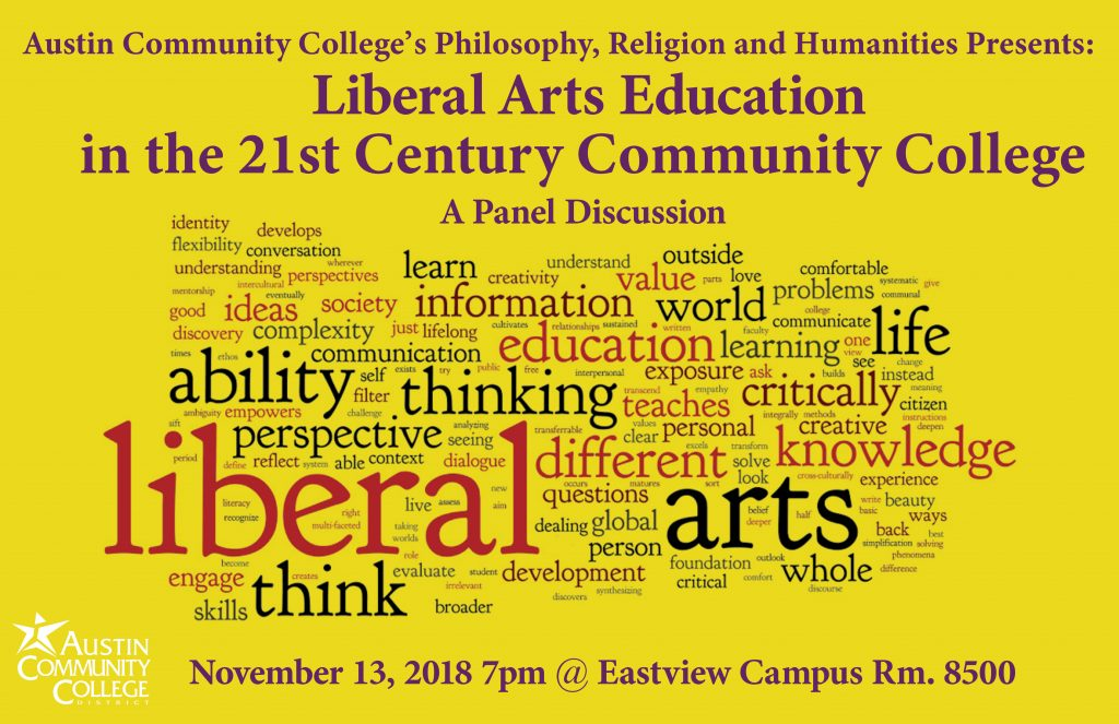Information about the Liberal Arts Education event, as well as a word cloud of related words