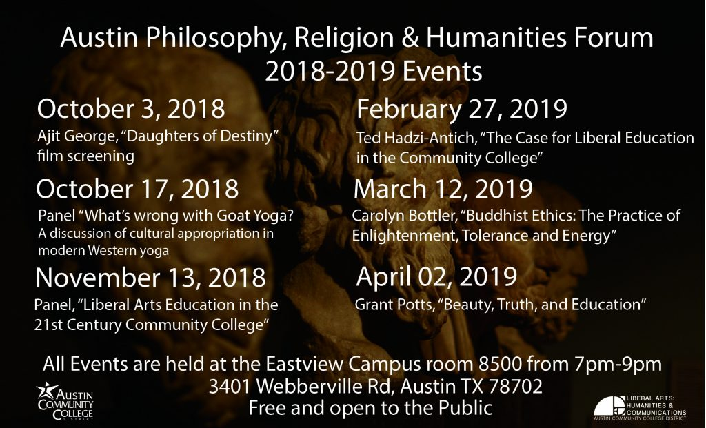 Flier of a list of Philosophy Forum Events in 2019 (text below)