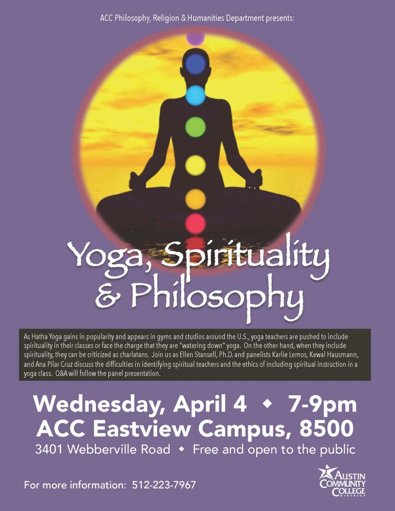 Info about the event with a photo of a meditating person with rainbow chakras